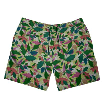 Mens Swimming Shorts Green  [medium shown].  Cathedral Leaves   Muted