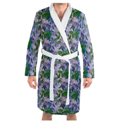 Dressing Gown [mens] mauve, green, floral  Passionflower  Tuscany
