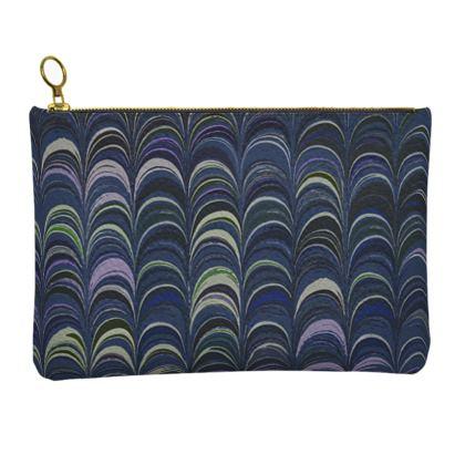 Leather Clutch Bag - Around Ex Libris Blue Remix (1800 -1950)