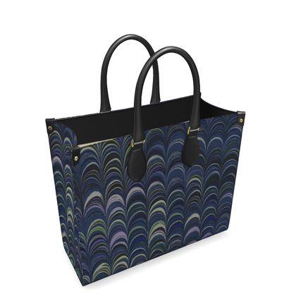 Leather Shopper Bag - Around Ex Libris Blue Remix (1800 -1950)