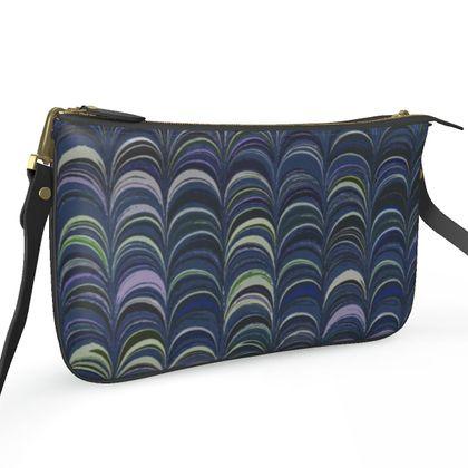 Pochette Double Zip Bag - Around Ex Libris Blue Remix (1800 -1950)