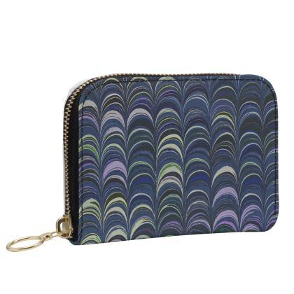 Small Leather Zip Purse - Around Ex Libris Blue Remix (1800 -1950)