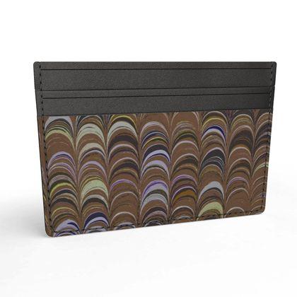 Leather Card Holder - Around Ex Libris Brown Remix (1800 -1950)