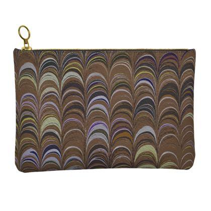 Leather Clutch Bag - Around Ex Libris Brown Remix (1800 -1950)