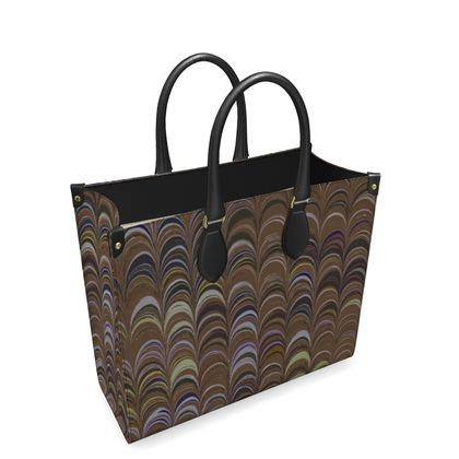 Leather Shopper Bag - Around Ex Libris Brown Remix (1800 -1950)