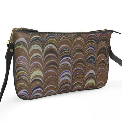 Pochette Double Zip Bag - Around Ex Libris Brown Remix (1800 -1950)