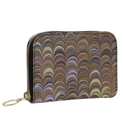Small Leather Zip Purse - Around Ex Libris Brown Remix (1800 -1950)