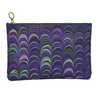 Leather Clutch Bag - Around Ex Libris Purple Remix (1800 -1950)