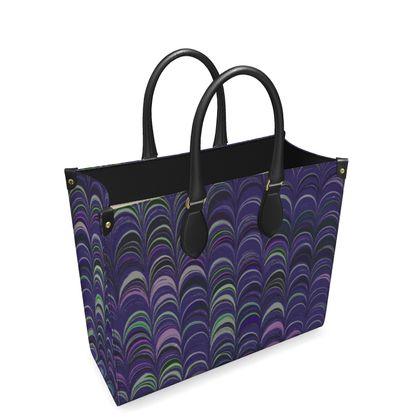 Leather Shopper Bag - Around Ex Libris Purple Remix (1800 -1950)