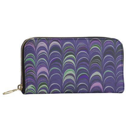 Leather Zip Purse - Around Ex Libris Purple Remix (1800 -1950)