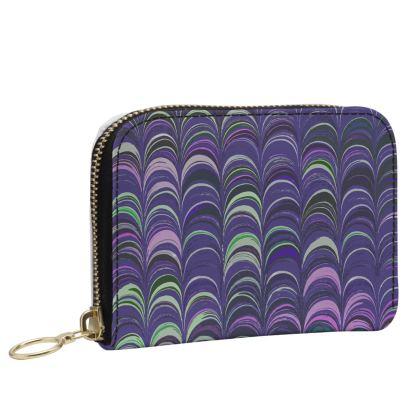 Small Leather Zip Purse - Around Ex Libris Purple Remix (1800 -1950)