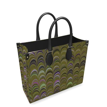 Leather Shopper Bag - Around Ex Libris Yellow Remix (1800 -1950)