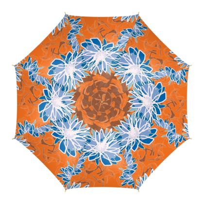 Daisy Luxury Collection (Blue & Tangerine) - Umbrella