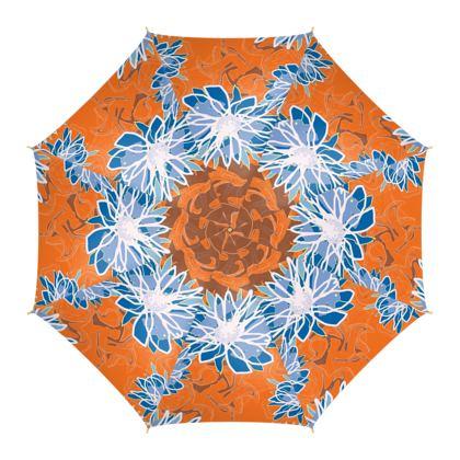 Daisy Luxury Collection (Blue & Tangerine) - Umbrella