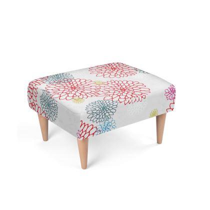 Chrysanthemum Luxury Collection (White) - Footstool