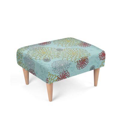 Chrysanthemum Luxury Collection (Blue) - Footstool