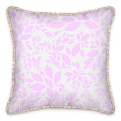 Silk Cushions- Emmeline Anne  Pink Leaves