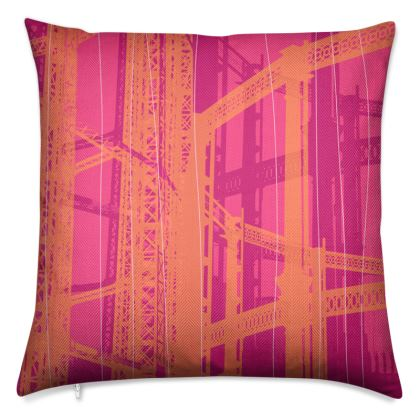 Pink & Orange Gasometer Luxury Cushion