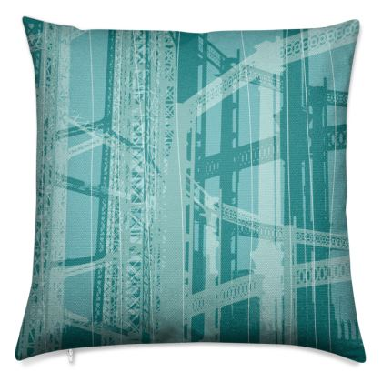 Turquoise Blue Gasometer Luxury Cushion