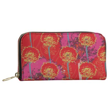 Dandelion Luxury Collection (Red) - Leather Zip Purse