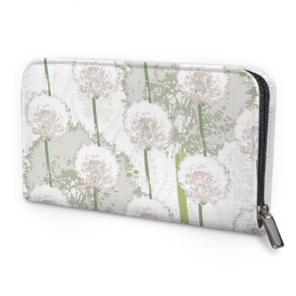 Dandelion Luxury Collection (White) - Leather Zip Purse