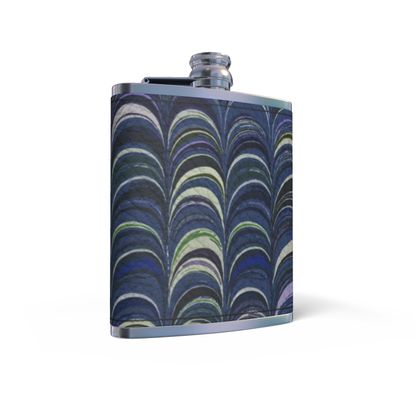 Leather Wrapped Hip Flask - Around Ex Libris Blue Remix (1800 -1950)