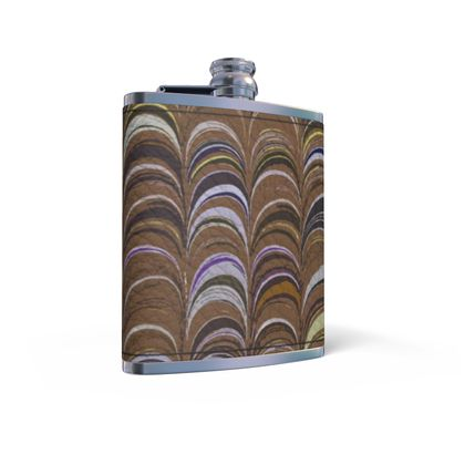 Leather Wrapped Hip Flask - Around Ex Libris Brown Remix (1800 -1950)