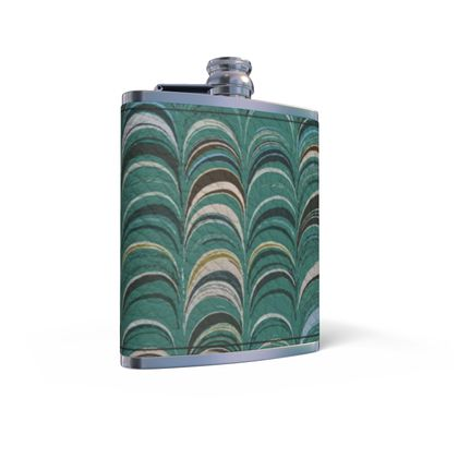 Leather Wrapped Hip Flask - Around Ex Libris Jade Remix (1800 -1950)