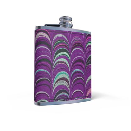 Leather Wrapped Hip Flask - Around Ex Libris Pink Remix (1800 -1950)