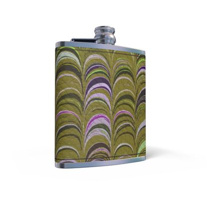 Leather Wrapped Hip Flask - Around Ex Libris Yellow Remix (1800 -1950)