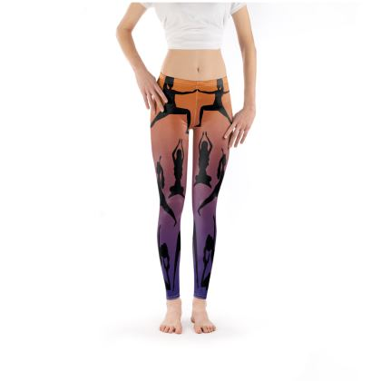 Leggings - Burnt Sunset Yoga Poses