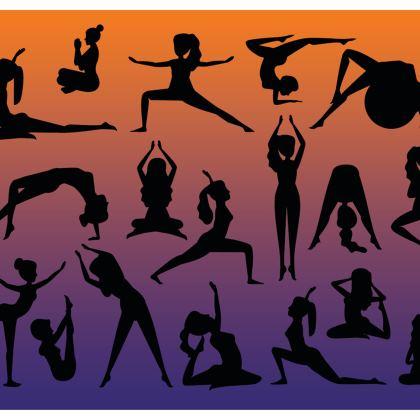 3/4 Leggings - Burnt Sunset Yoga Poses