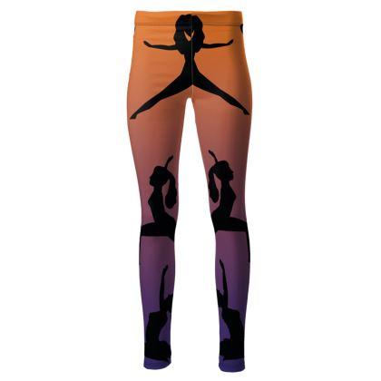 High Waisted Leggings - Burnt Sunset Yoga Poses