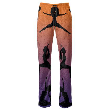 Womens Trousers - Burnt Sunset Yoga Poses