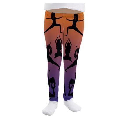 Girls Leggings - Burnt Sunset Yoga Poses