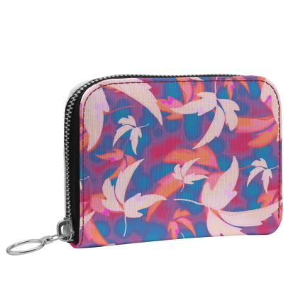 Small Leather Zip Purse Blue, Pink   Leaves in Flight   Oilcan