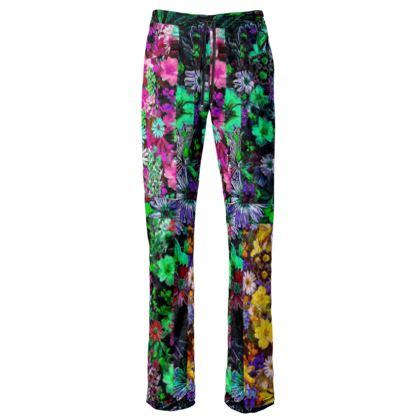 Pantaloni in raso di velluto Canotta floreale di cotone linea Il fiorame