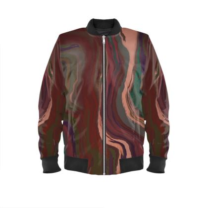 Ladies Bomber Jacket - Colours of Saturn Marble Pattern 1