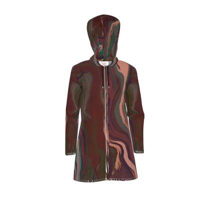 Womens Hooded Rain Mac - Colours of Saturn Marble Pattern 1