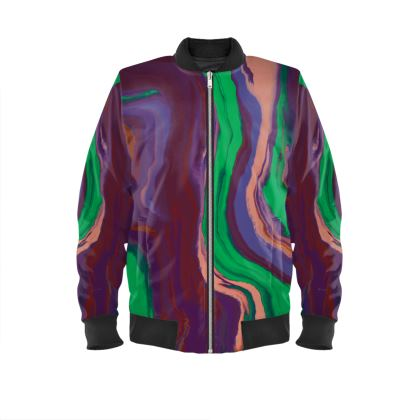 Ladies Bomber Jacket - Colours of Saturn Marble Pattern 2