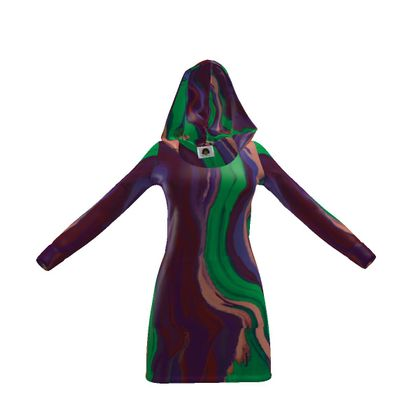 Hoody Dress - Colours of Saturn Marble Pattern 2