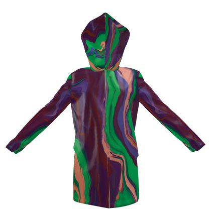 Womens Hooded Rain Mac - Colours of Saturn Marble Pattern 2