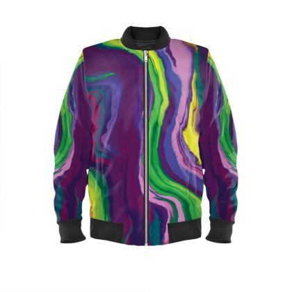 Mens Bomber Jacket - Colours of Saturn Marble Pattern 3
