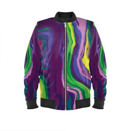 Ladies Bomber Jacket - Colours of Saturn Marble Pattern 3