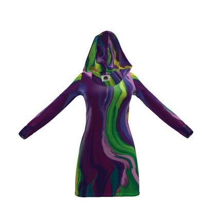 Hoody Dress - Colours of Saturn Marble Pattern 3