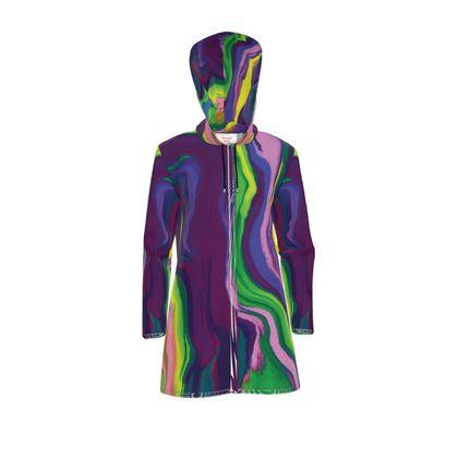 Womens Hooded Rain Mac - Colours of Saturn Marble Pattern 3