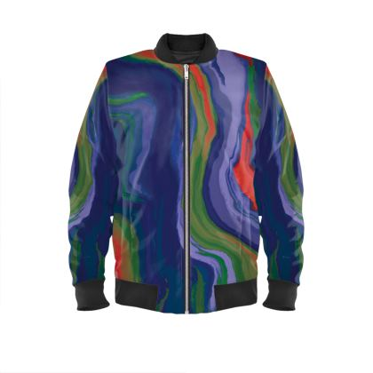 Mens Bomber Jacket - Colours of Saturn Marble Pattern 4