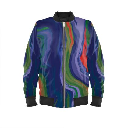 Ladies Bomber Jacket - Colours of Saturn Marble Pattern 4