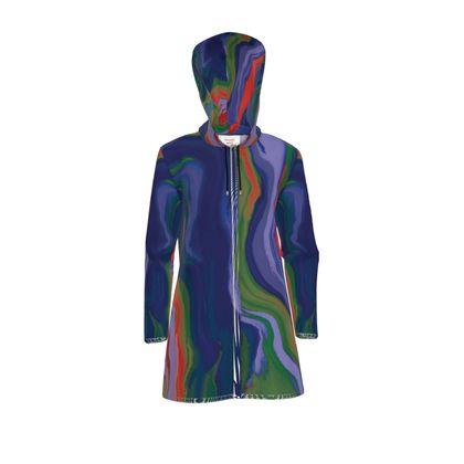 Womens Hooded Rain Mac - Colours of Saturn Marble Pattern 4