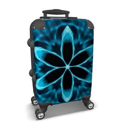 Suitcase, Abstract Blue Flower